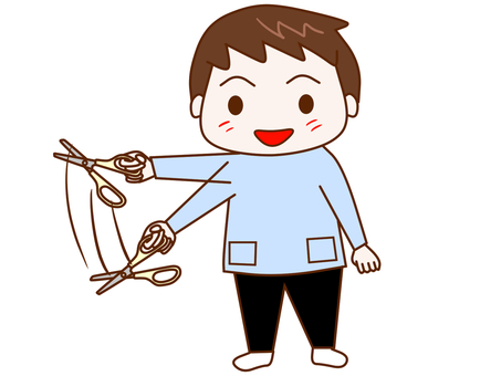 Boy swinging scissors