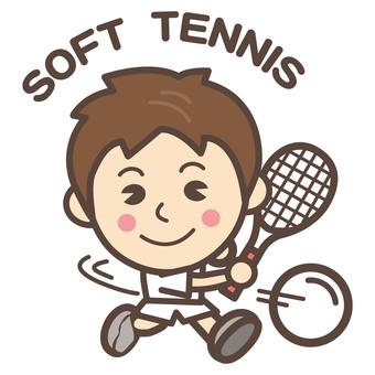 Soft tennis (TENNIS) forehand man