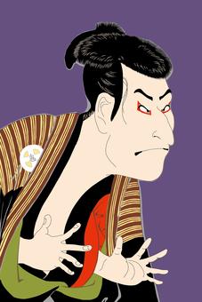 The third generation Otani Ogi next fellow Edo Kyubei _ background purple