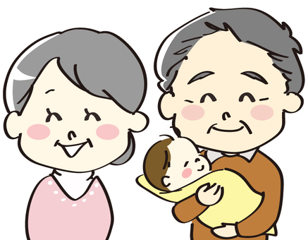 An old couple holding his grandchild