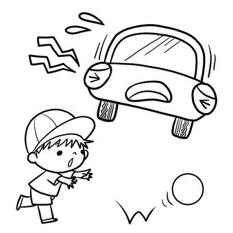 Traffic safety jump out Attention Ball and boys drawing