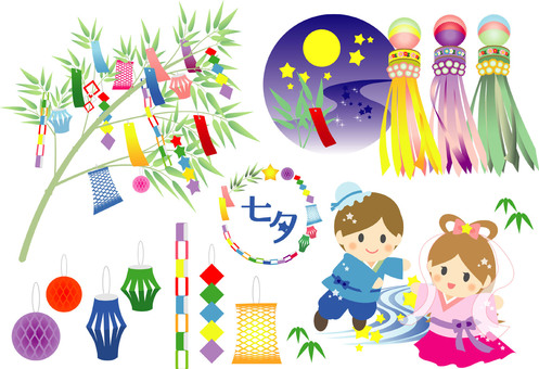 Tanabata illustration set