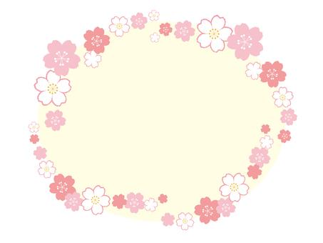 Mokomoko cherry blossom frame 07 [elliptical / transparent window]