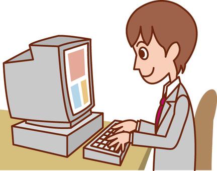 Computador trabalhador masculino / assalariado