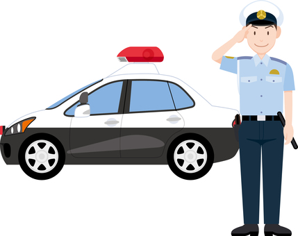 Policeman salute police car summer clothes