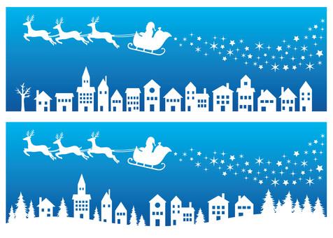 Santa Claus Silhouette Material Blue