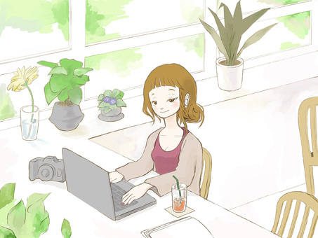 Woman working in a fashionable cafe