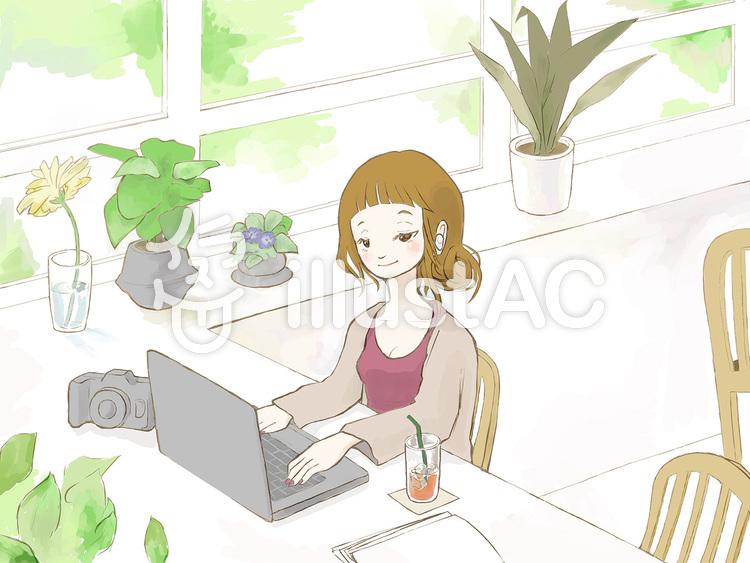 お洒落なカフェで仕事をする女性のイラスト