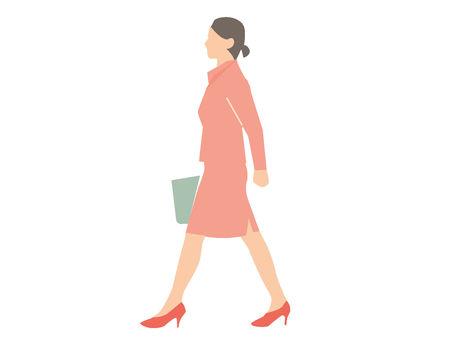 Woman walking sideways