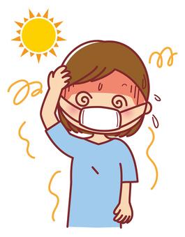 Mask heat stroke female illustration