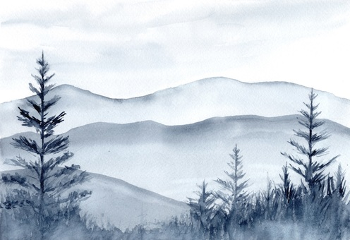 Mountains and coniferous landscapes Ink painting style