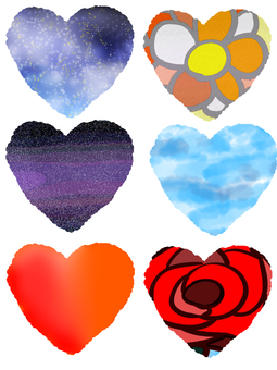 Hand-painted heart set with various patterns