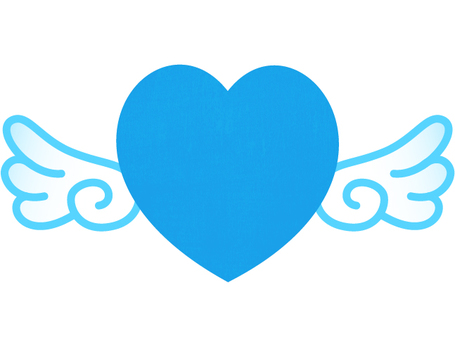 Blue heart and feathers