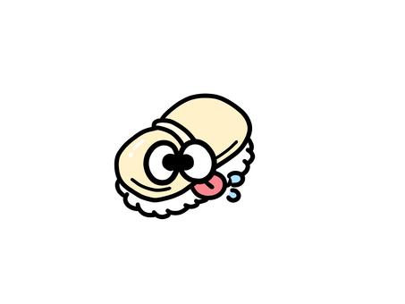 自分にヨダレをたらすお寿司ホタテ