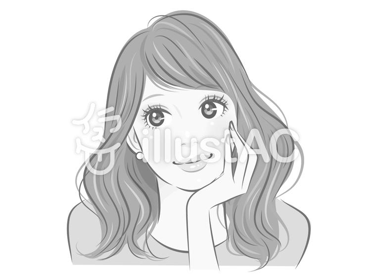 頬杖をつく女性イラスト No 1387517無料イラストならイラストac