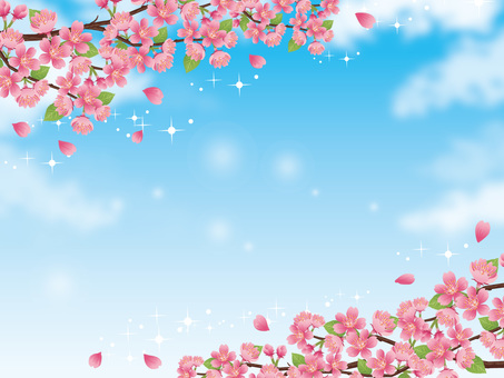 Sparkling sky and sparkling scenery with branches of cherry blossoms 01