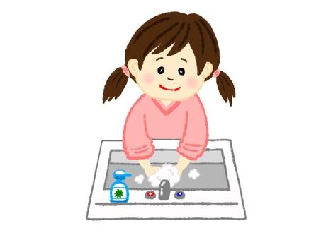 Girl washing hands