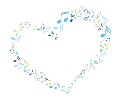 Heart made of musical note Blue