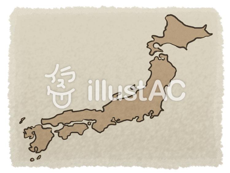 古ぼけた地図(日本風)のイラスト