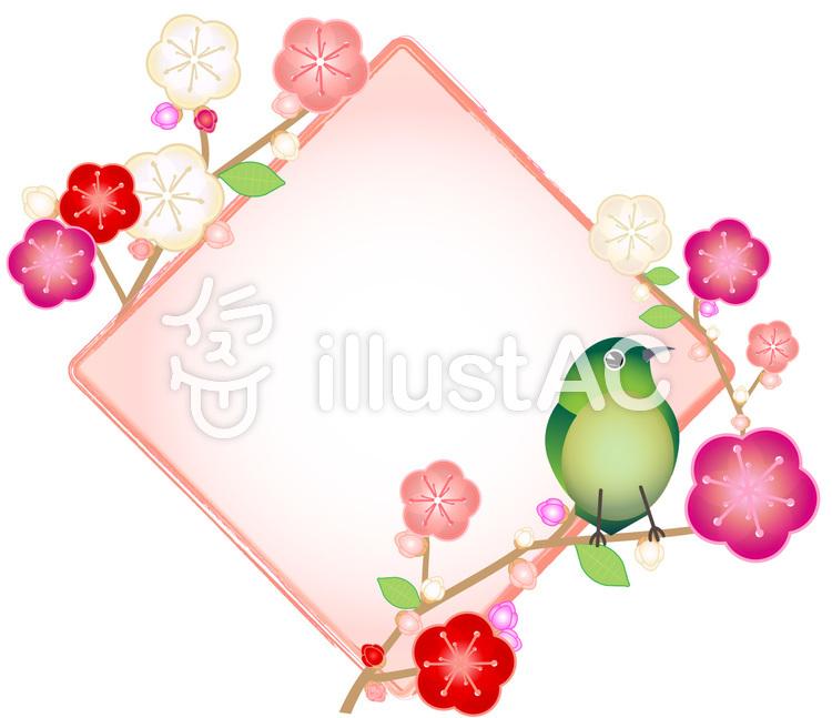 鶯と梅のひし形フレーム02のイラスト
