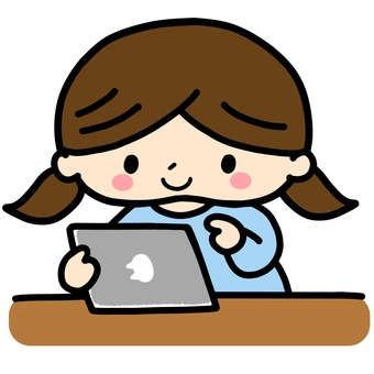 Illustration of a girl using a tablet ②