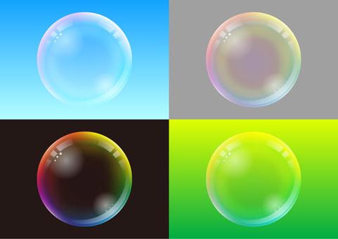 Soap bubble-black, gray, blue, green four color background