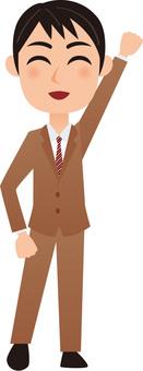 Working men - employee _ guts pose _ whole body