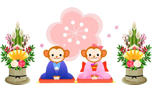 Illustration of a monkey and Kadomatsu