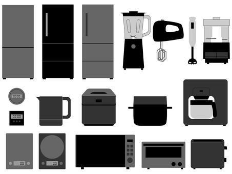 Kitchen appliances monotone set