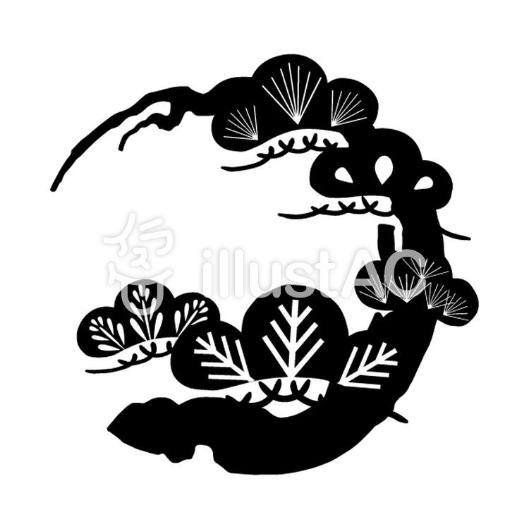 花丸紋様(単色/松)のイラスト