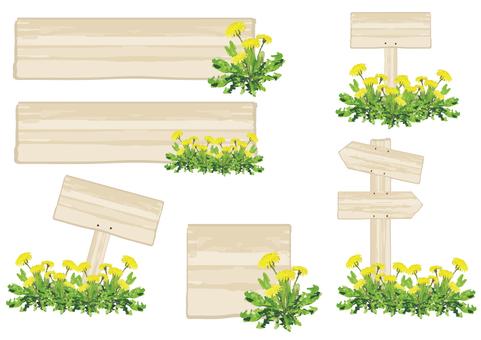 Signboard of wood (dandelion)