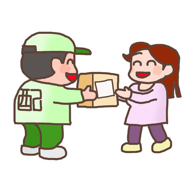 Mother receiving a courier