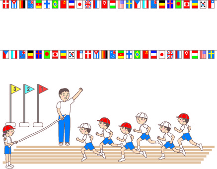 Illustration of national flag line and athletic meet