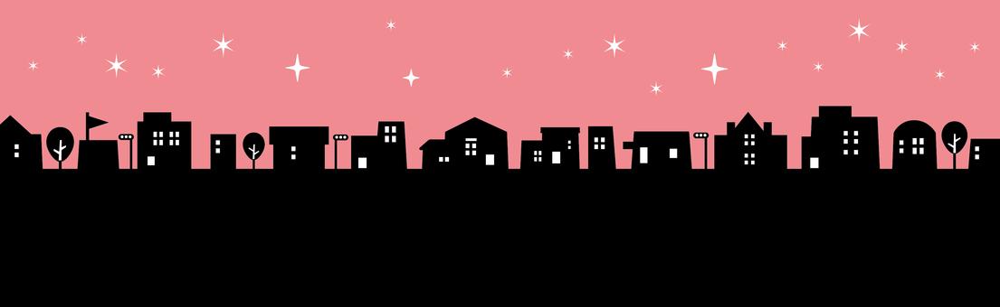 Stars night skyline silhouette