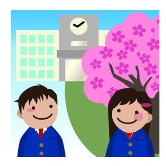 Cherry blossoms and school buildings and students
