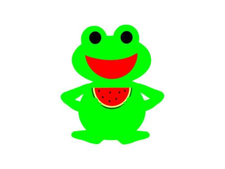 수박이 기쁜듯한 개구리 씨