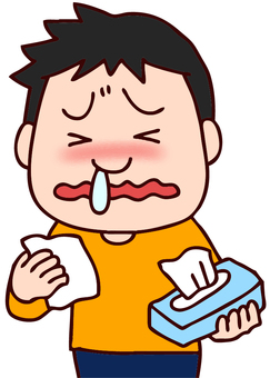 Illustration of a boy whose runny nose does not stop