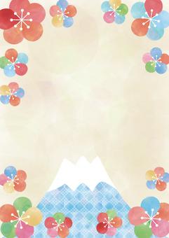 梅と富士山_水彩フレーム縦型2180