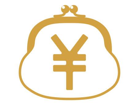 Sword purse golden icon