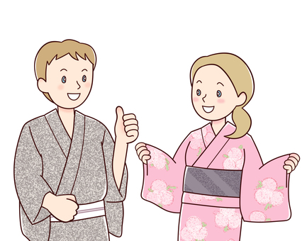 Foreigners of the yukata (White)