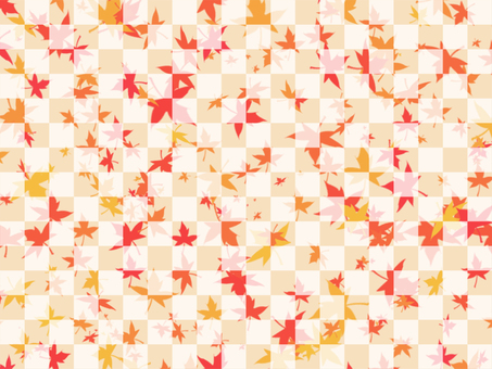 Autumn leaves and checkerboard background 1