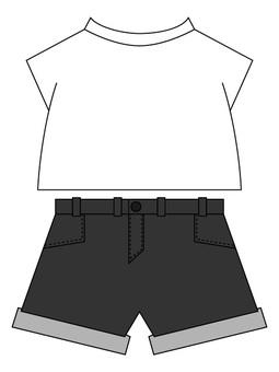 Dark gray shorts on white T