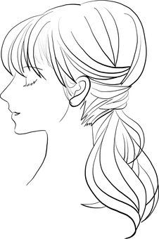 Profile woman line drawing