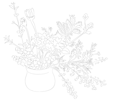 꽃병의 꽃 (컬러링)