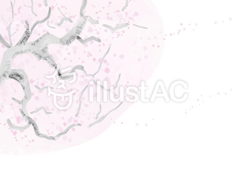 水彩タッチの桜の木1