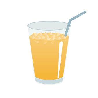 Orange juice with straw with ice