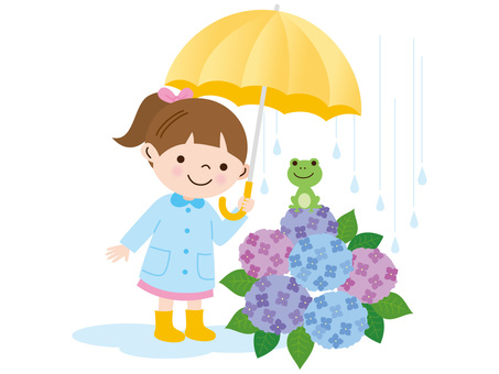 Hydrangea and frog girl