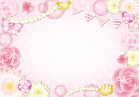 Girly flower polka dot frame (pink)