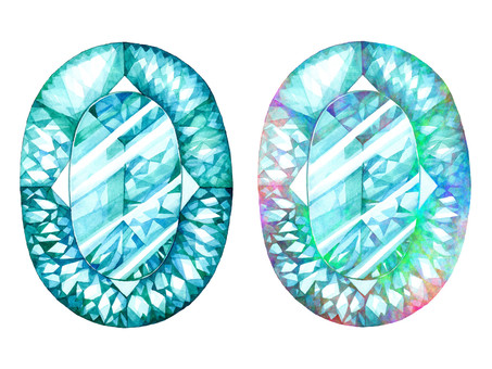 Hand-painted watercolor gem (Aquamarine)