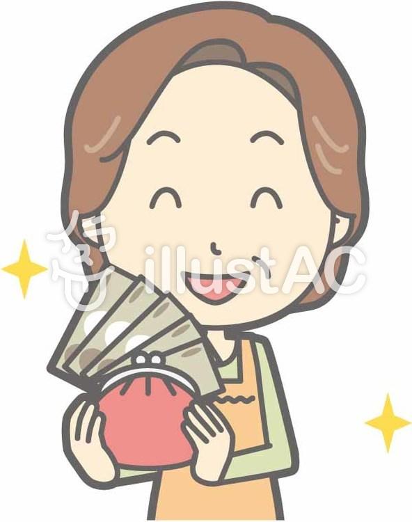 中年主婦a-お金持ち-バストのイラスト